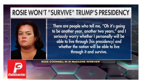 Rosie O'Donnell Says She Will Not Survive the Trump Presidency!