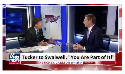 "Tucker Hammers SwalWell (D-CA)  ""You Are Part of It, Congress is Influenced by Foreign Powers!"""