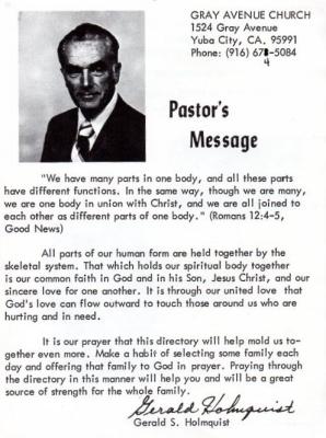 1977 - Gerald S. Holmquist, Pastor