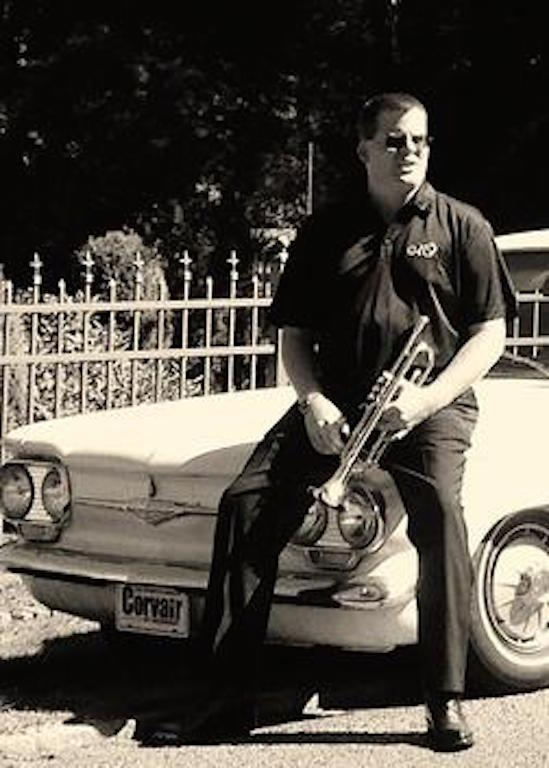 """Scott with trumpet and Corvair"""