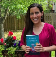 """Book launch photo of Katie Shands with her new novel """"Finding Franklin"""""""