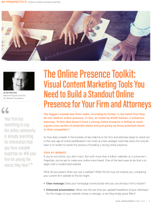 Legal Management Article: The Online Presence Toolkit