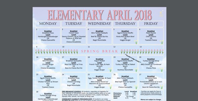 April School Lunch Menu