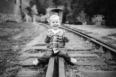 2 year old on rail road tracks of Roaring Camp by Cayton Heath Photography