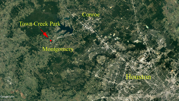 Town Creek Park, Montgomery, TX. Arial view