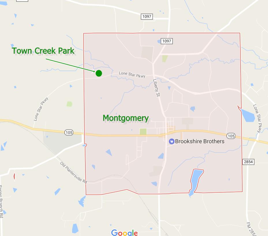 Town Creek Park, Montgomery, TX. Map