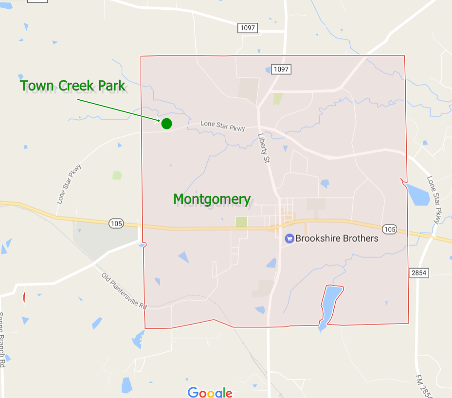 Town Creek Park, Montgomery, TX. Map