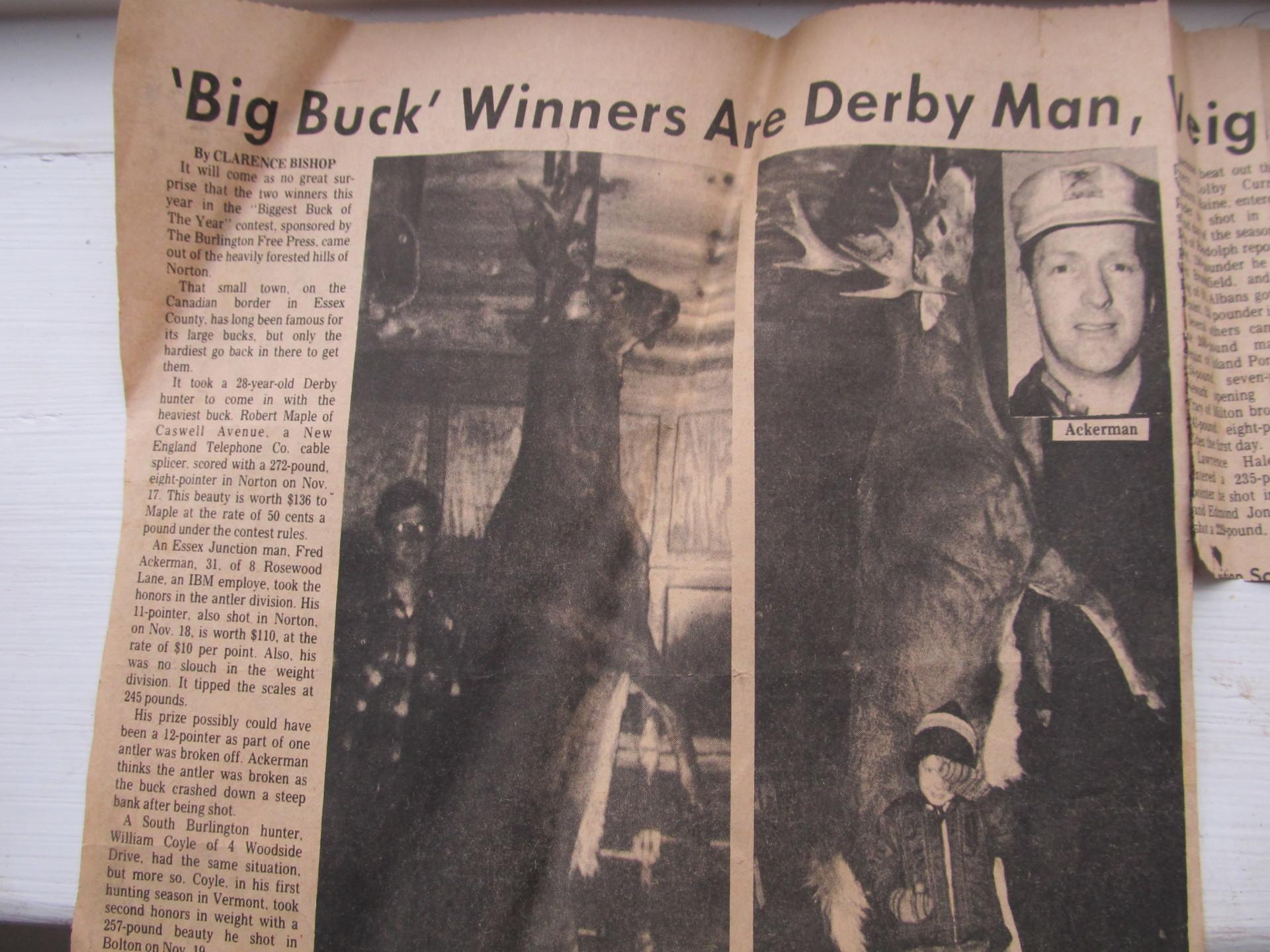 Vermont Biggest Buck