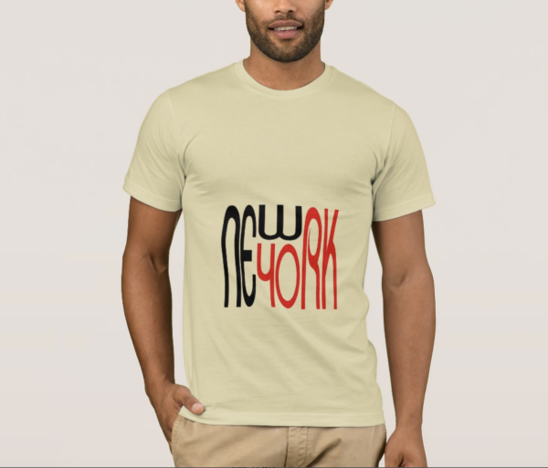 Modern Text Design Black and Red New York T-shirt