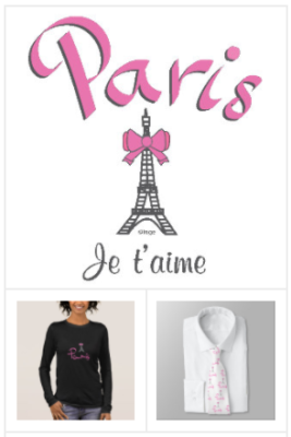 Chic Paris designer T-shirts, Modern Paris themed apparel, paris tote bags, paris belts