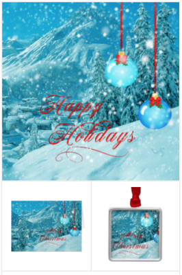 Snowy happy holidays cards, winter village christmas cards