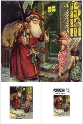 Vintage Santa Cards, Santa stamps, Santa gifts