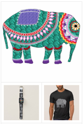 ornate elephant art, ornate elephant clothing and decor, ornate elephant pattern