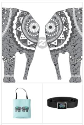ornate elephant art, ornate elephant clothing and decor, ornate elephant pattern