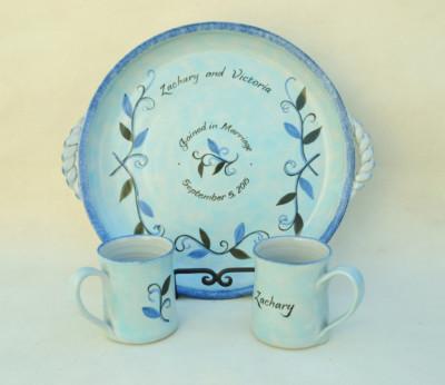 Blue Leaf Wedding Platter      $50
