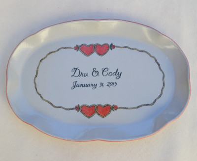 Large Cowboy Hearts Oval Platter     $75.