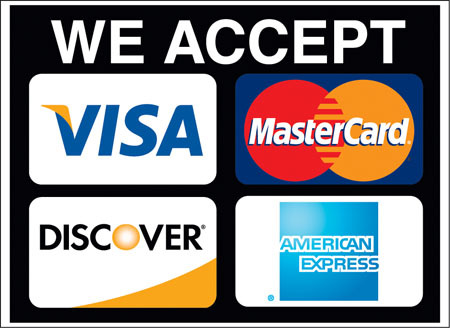 We Accept Cash, Visa, Mastercard, Discover, American Express