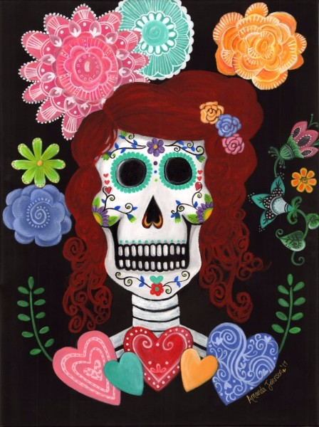 "Dia de los Muertos Art - ""Catrina's Garden"" - Whimsical Artwork by Amanda Johnson, Day of the Dead Arts and Prints"
