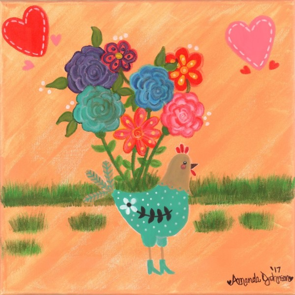 "Whimsical Hen Art - ""Henrietta the High Heeled Hen"" - Whimsical Artwork by Amanda Johnson, whimsical hen and peacock arts and prints"