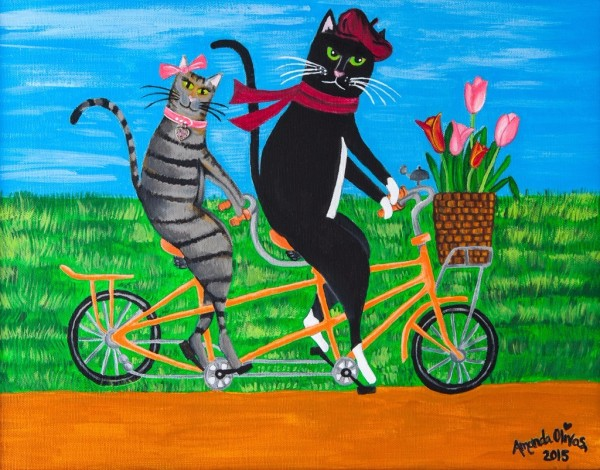 "Whimsical Cat Art - Artwork by Amanda Johnson - ""Kitty Cat Outing"", whimsical cat prints"