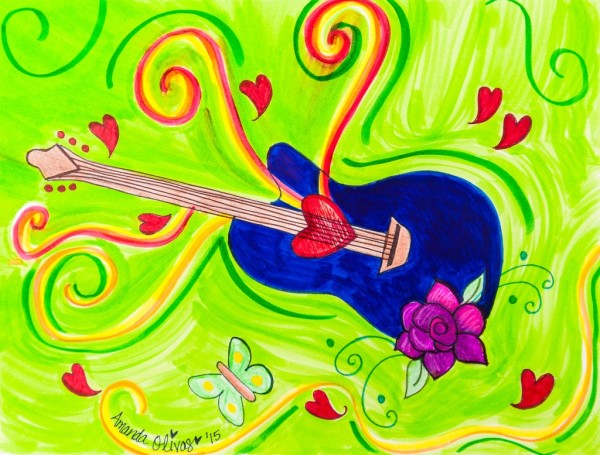 "Whimsical Guitar Art by Amanda Johnson - ""Guitar in the Sky"", whimsical guitar arts and prints"