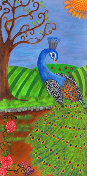 "Whimsical Peacock and Bird Art by Amanda Johnson - ""Pretty in Peacock"", whimsical peacock prints"