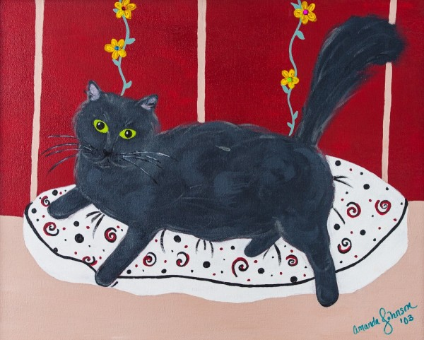 "Whimsical Cat Art by Amanda Johnson - ""Lady Kitty"", whimsical cat prints"