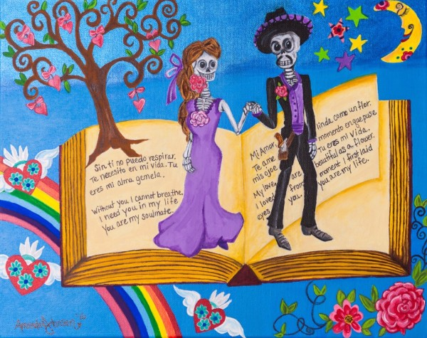 "Dia de los Muertos Art - Whimsical Artwork by Amanda Johnson - ""Everlasting Love"", Day of the Dead Arts and Prints"