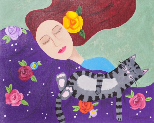"Whimsical Artwork by Amanda Johnson - ""Tranquility"", whimsical cat prints"