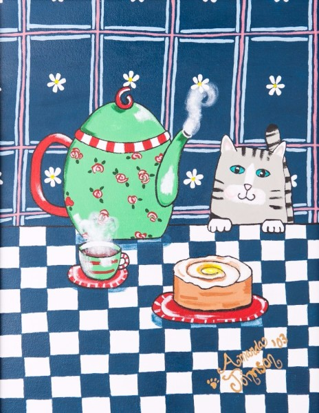 "Whimsical Cat Art by Amanda Johnson - ""Kitty Cat Tea Time"", whimsical cat prints"