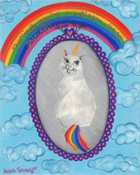 "Whimsical Unicorn and Caticorn Art - Artwork by Amanda Johnson - ""Caticorn"", whimsical Unicorn and Caticorn prints"