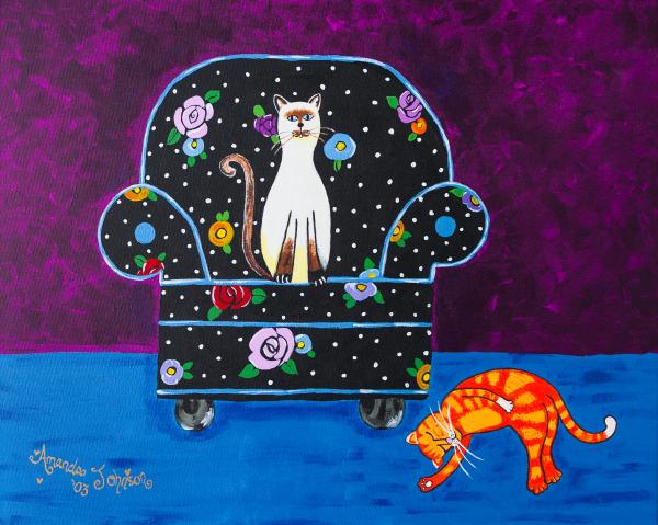 "Whimsical Cat Art - ""Cats Just Wanna Have Fun"" - Whimsical Art of Amanda, whimsical cat prints"
