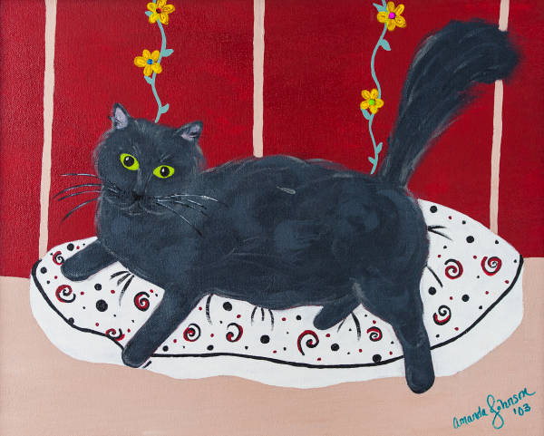 "Whimsical Cat Art - ""Lady Kitty"" - Whimsical Art of Amanda, whimsical cat prints"