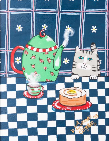 "Whimsical Cat Art - ""Kitty Cat Tea Time"" - Whimsical Art of Amanda, whimsical cat prints"