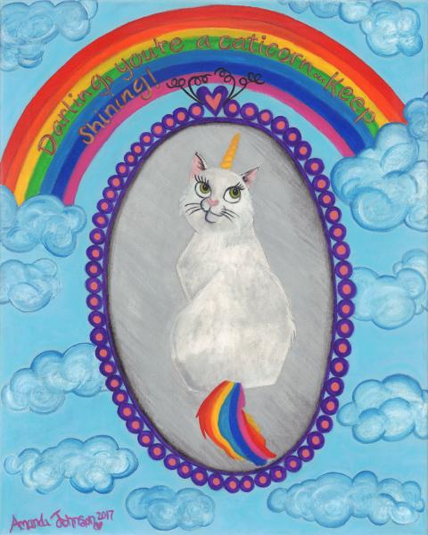 "Whimsical Unicorn and Caticorn Art - ""Caticorn""-Whimsical Art of Amanda Johnson, Caticorn and Unicorn Prints"