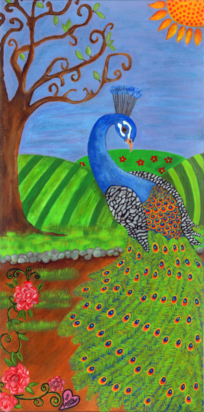 """Whimsical Peacock and Bird Art - """"Pretty in Peacock"""" - Whimsical Art of Amanda, whimsical peacock prints"""
