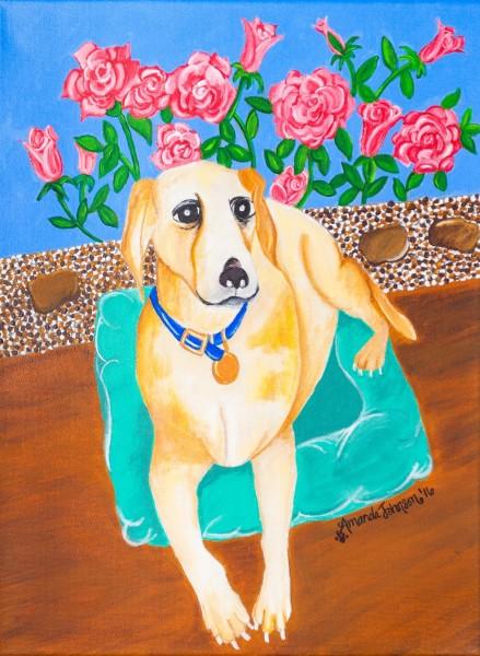 "Whimsical Dog Art - ""Serenity"" - Whimsical Art of Amanda, whimsical dog prints"