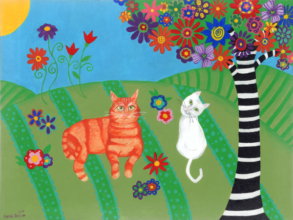 "Whimsical Cat Art by Amanda Johnson - ""Fields of Cats and Dreams"", whimsical cat prints"