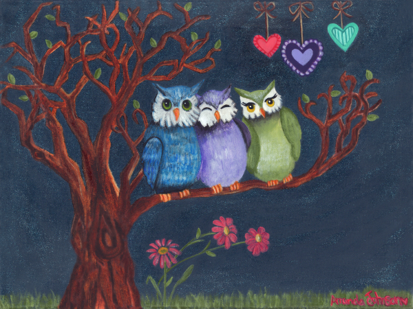 "Whimsical Artwork by Amanda Johnson - ""Basking in the Midnight Sparkle"", whimsical owl prints and artwork"
