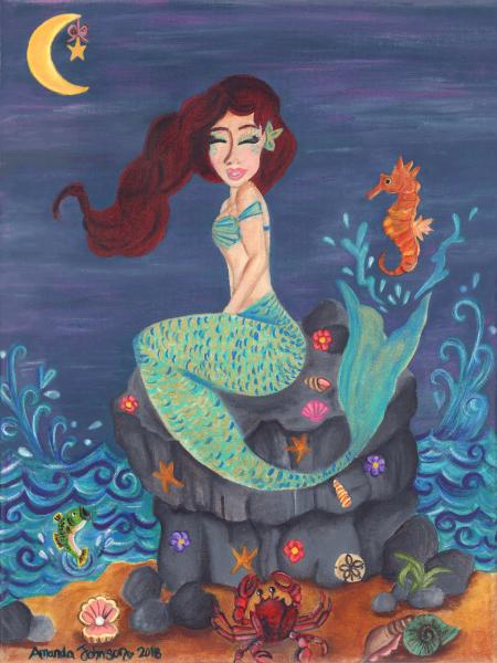 "Whimsical Mermaid Art - ""Under the Merlight Sea"" - Whimsical Art of Amanda, mermaid art"