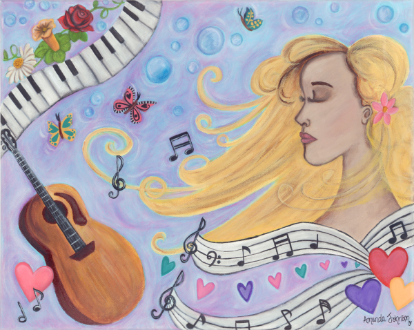 "Whimsical Artwork by Amanda Johnson - ""She Dreams in Music"", whimsical music and inspirational prints and artwork"