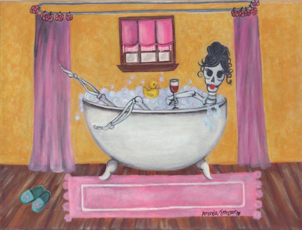 """Whimsical Folk Art, Dia de los Muertos  - """"Señorita Sangria"""" - Whimsical Art of Amanda"""