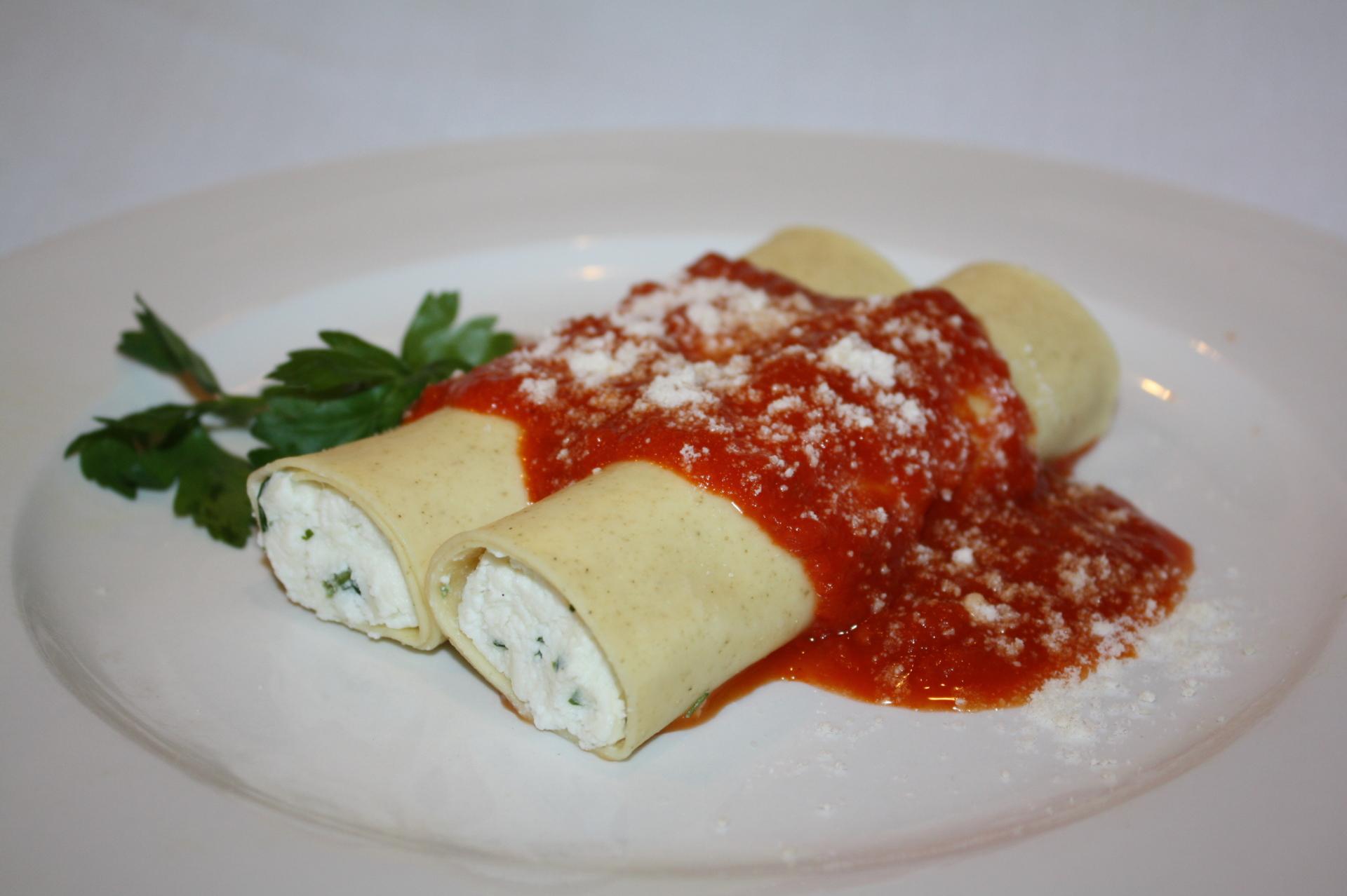Homestyle Cheese Manicotti  Price $24 (10pcs)