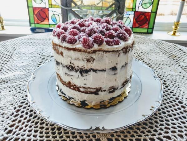 Chocolate Pumpkin Cake w/ vanilla ganache, chocolate glaze, topped with sugared cranberries