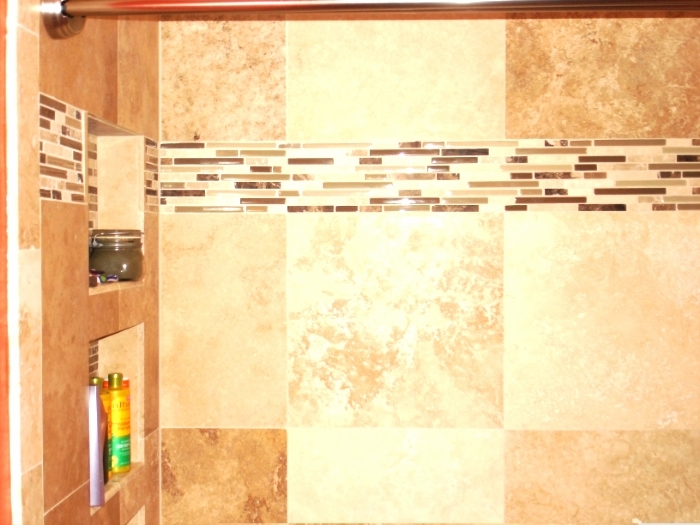 Mosaic tile strips in shower