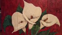 lilies, lily, wax, flower, mosaic, polymer clay, beads, art, mix media,