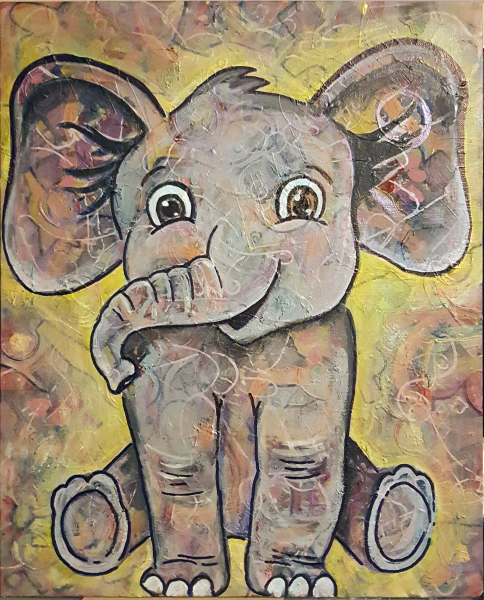 mixed media, elephant