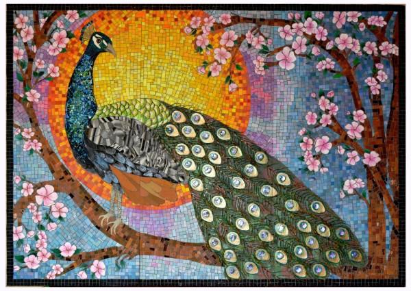 mosaic, blossom, birds, peacock