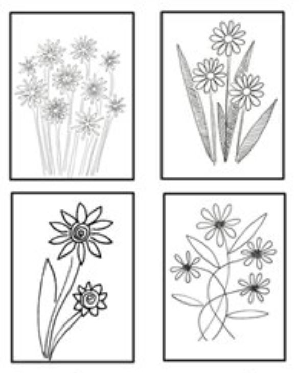 Adult coloring book Color yourself black and white B&W Flowers Floral postcard folded greeting note card