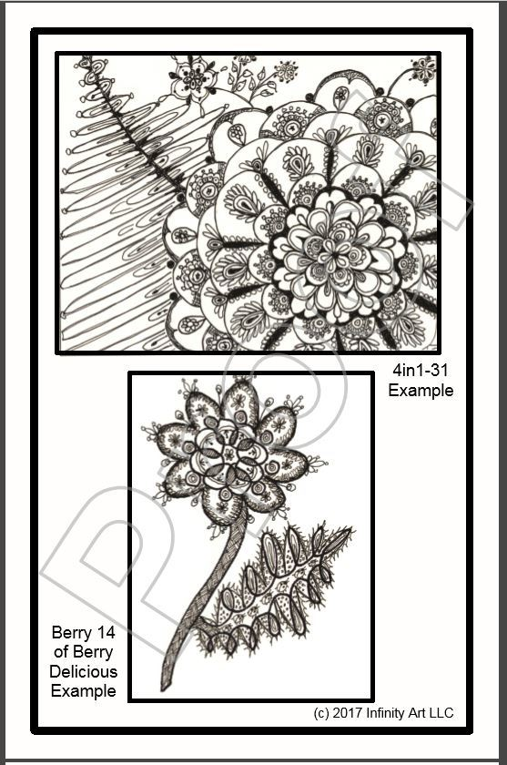 Adult coloring book Color yourself black and white B&W Puzzle Mosaic Flowers Floral postcard folded greeting note card